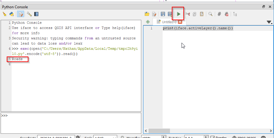 The Python Console and editor - QGIS + Python = ❤❤